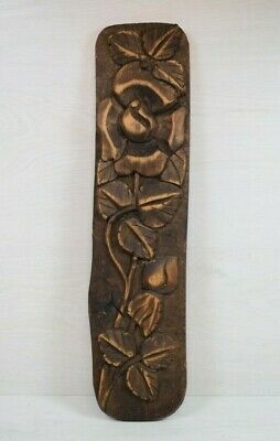 Antique Handmade Wood Wooden Carved Flower Rose Wall Decoration Art 1960's Deco