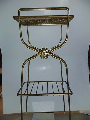 Vintage Metal Mesh Mid Century Record Magazine Phone Rack Stand Gold Color