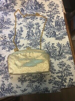 Vintage Admiral Gold Evening Clutch 1950s Glitter Gold w/ Gold Chain Strap Folds