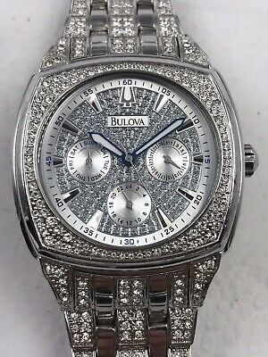23f25e263b7d7 BULOVA MENS STAINLESS Steel Swarovski Crystal Accent Watch in Silver ...