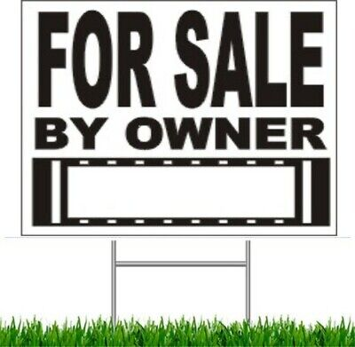 """For Sale by Owner Large Outdoor 24""""x18"""" Land Yard Sign With Wire Stake"""