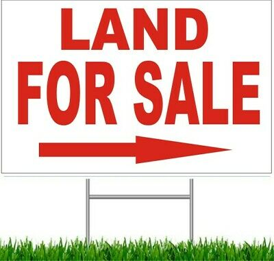 """Land For Sale Arrow Large Outdoor 24""""x18"""" Land Yard Sign With Wire Stake street"""
