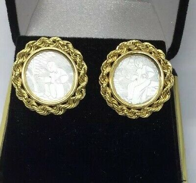 Vintage Chinese 14K Solid Gold Hand Carved Mother of Pearl Gaming Chip Earrings