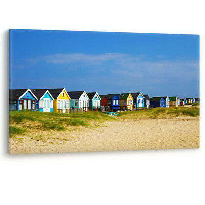 Beach Huts on Mudeford Spit Dorset UK Luxury Canvas Wall Art Large Picture Print