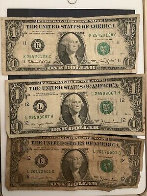 US BANKNOTES USA  3 X One US$ Bills Old 1977 , 1974 United States Of America
