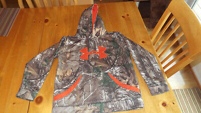 Under Armour Fleece RealTree Camo Hoodie Youth Med,Storm Boys,Nice!