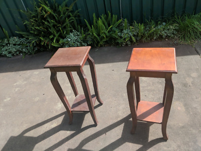 Pair of wooden plant stands