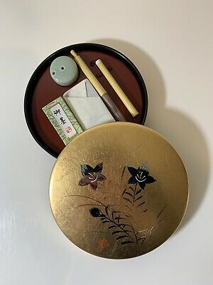 Authentic Japanese Caligraphy Set In Gold Leaf Case