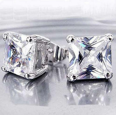 Fashion Womens cool 14k white Gold Filled Square Cubic Zirconia stud earings 6mm