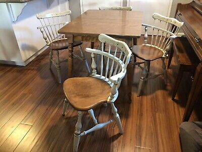 Authentic Vintage Ethan Allen Table- Four Hitchcock Style Maple Comb Back Chairs