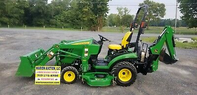 2014 John Deere 1025R Compact Loader Tractor W/Mower And Backhoe Only 215 Hours!
