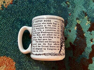 BETSY ROSS Mug VERY GOOD Vintage UNIQUE DESIGN Not Offended BLACK & WHITE