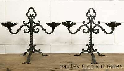 Vintage French Pair of Iron Candelabra Candle Sticks Holders - PQ524