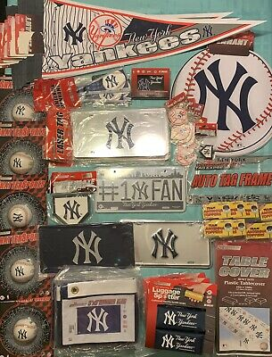 Lot Of New York Yankees Souvenirs: License Plates Key Chains Coasters Pennants..