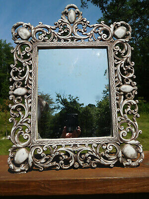 1950s VINTAGE JM IRON ART CO. N.J. ORNATE CAST IRON EASEL-STYLE STANDING MIRROR
