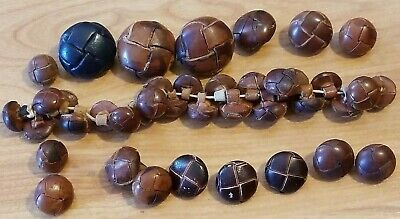 Mixed Lot of 40 Vintage Antique Junk Drawer Leather Woven Buttons 15 mm to 30 mm