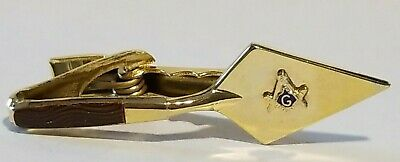 Vintage Masonic Freemasons Compass Lodge G Trowel Tie Bar Clip Clasp Gold Masons