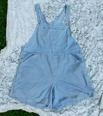 VINTAGE 1990's BACCINI RAILROAD STRIPE JEANS OVERALL SHORTS SIZE 22 WAIST 48