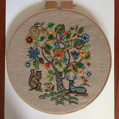 Vintage Woven Tapestry Wall Art Chair Seat Wallhanging Folk Squirrel Forest