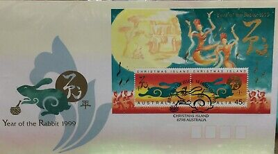 Christmas Island 1999 Chinese Year of the Rabbit FDC with Mini-Sheet