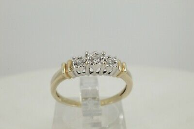 Lovely, Solid 10K Yellow Gold, .10 Tcw, 3 Diamond Ring, Size 7.25. #1149