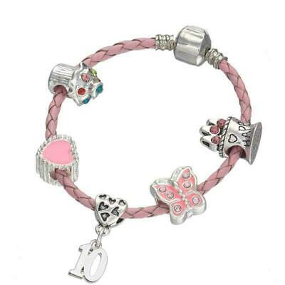 Children's Pink Leather Happy 10th Birthday Charm Bracelet with Gift Box - Girl'