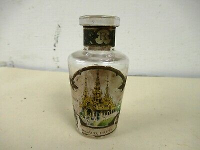 Antique Perfume Bottle Glass Rigaud Brand Made In France With Original Label*F4