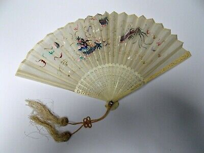 ANTIQUE 19th CENTURY QING DYNASTY CARVED CHINESE  HAND EMBROIDERED SILK FAN.