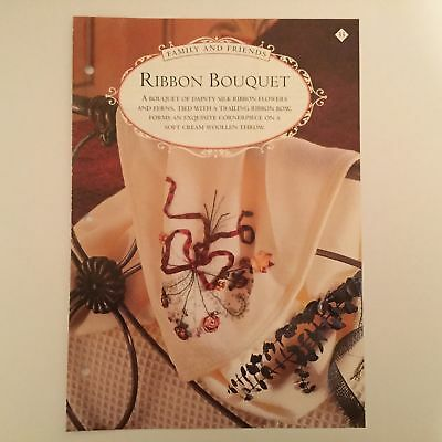 Needlework pattern: Ribbon embroidered bouquet design and instructions