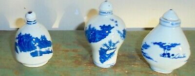F2 Lot REDUCED! 3 Vintage Chinese Blue/White Beautiful Snuff Bottles.