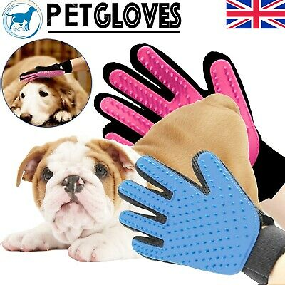 Pet Glove Dog Cat Grooming Mittens soft Stripping Hair Remover Brush Blue Pink