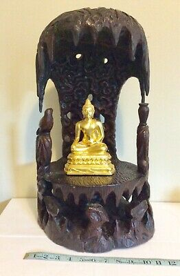 Antique Chinese shrine altar Guanyin East Asian carved wood Buddhist taoist
