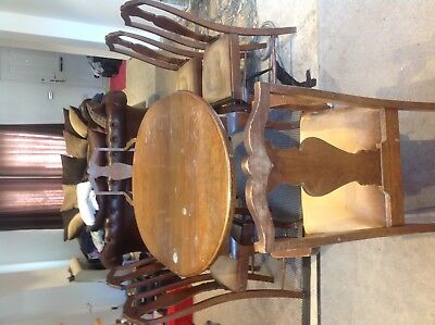 Antique Queen Anne dining table and chairs