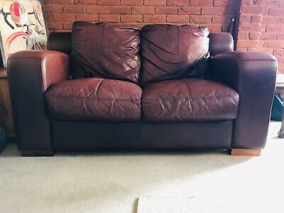 Authentic leather sofa suite - colour distressed dark rosewood