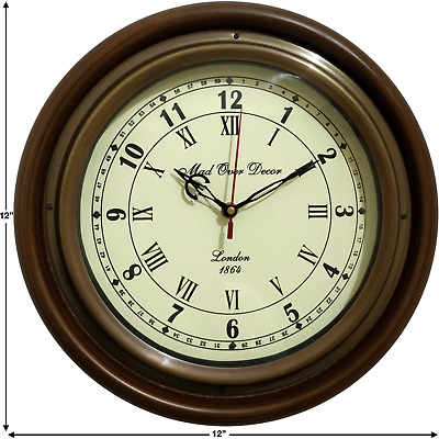 Vintage Antique Style Wooden Round Wall Clock W/ Brass Ring Home Decorative Item