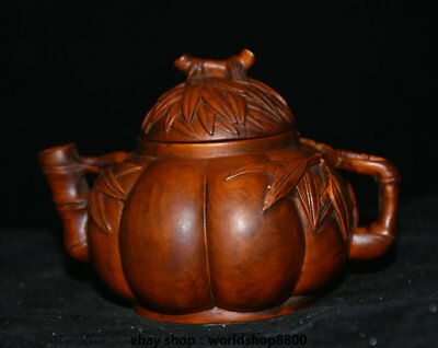"4.4"" Antique Chinese Boxwood Wood Carved Dynasty Bamboo Handle Teakettle Teapot"