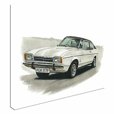 Ford Capri Mk2 3000 Ghia (personalised reg)Canvas Wall Art Picture Print