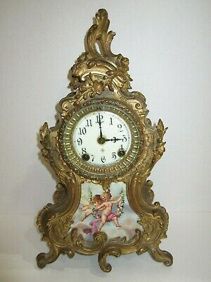 Antique Ansonia Trianon Porcelain Panel Clock For Project/Parts