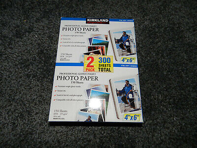 NEW Kirkland Signature Photo Paper Two Pack 4 X 6 Glossy Inkjet 300 Sheets Total