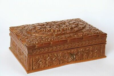 Superb Antique Early 20th c. Anglo-Indian Hand Carved Large Wooden Jewelry Box