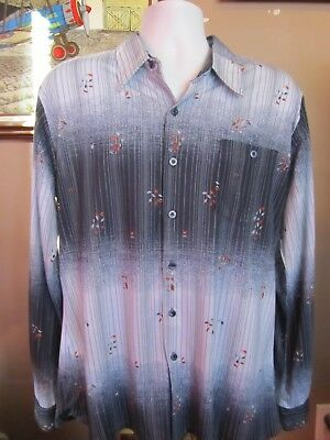 Vintage 70's DON GIOVANNI CALIFORNIA L/S Blue Striped/Leaf Pattern Shirt Size XL