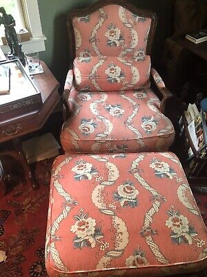 Pair Large Antique 18th Century French Bergere Upholstered Club Lounge Arm Chair