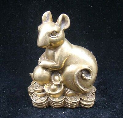 Collectible Handmade Carving Statue Figurine Brass Chinese Zodiac Rat