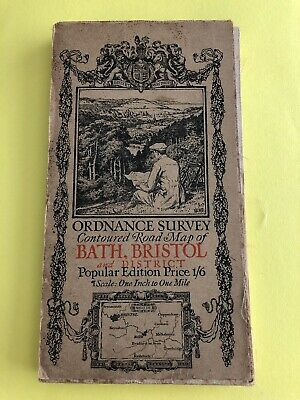 Ordnance Survey Contoured Road One Inch Map Bath Bristol & District Printed 1919