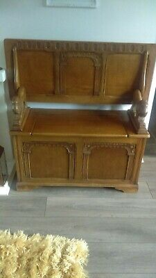 Vintage Antique Victorian Carved Lions Solid Oak Monks Bench Table Hall Seat