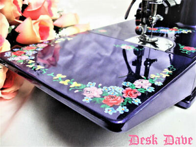 Rare 1937 English Floral Majestic Purple Singer Featherweight 221 Sewing Machine