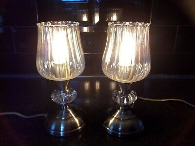 Pair Of Brushed Brass Effect Table Lamps