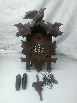 Vintage Black Forest Cuckoo Clock With Acorn Weights Germany