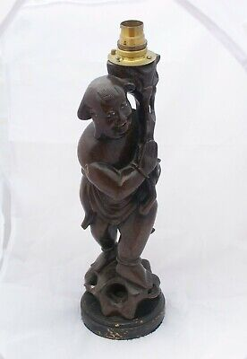 Antique Hand Carved Japanese Hardwood Buddha Table Lamp with Inlaid Detail