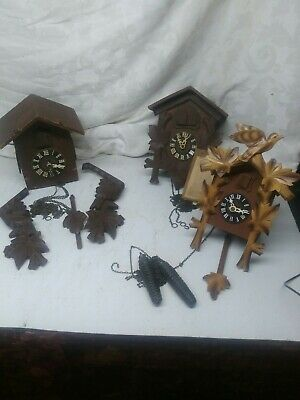 3 cuckoo clocks- parts only